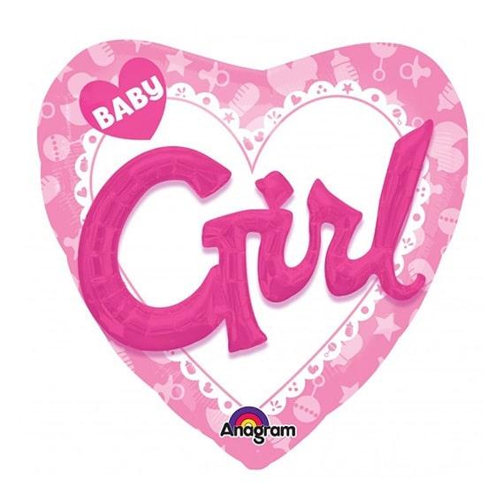 GLOBO GIRL BABY EN CORAZON ROSA 91CMX91CM