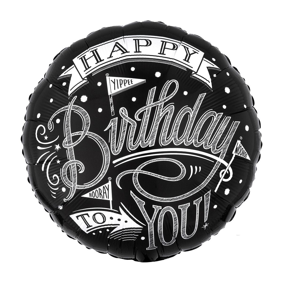 GLOBO HAPPY BIRTHDAY TO YOU NEGRO CON LETRAS BLANCAS